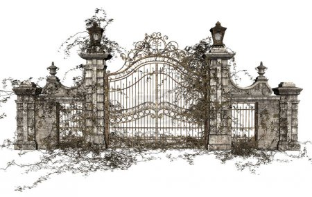 Photo for 3D Rendered Cast Iron Gate on White Background - 3D Illustration - Royalty Free Image