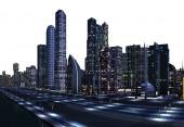 3D Rendered Futuristic City Skyline on White Background - 3D Illustration