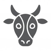 Cow glyph icon animal and zoo cattle sign vector graphics a solid pattern on a white background eps 10