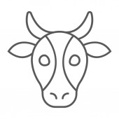 Cow thin line icon animal and zoo cattle sign vector graphics a linear pattern on a white background eps 10