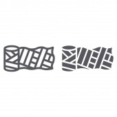 Sewing material line and glyph icon fashion and sew spool sign vector graphics a linear pattern on a white background