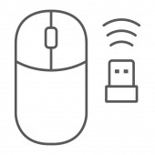 Wireless mouse thin line icon cursor and device computer mouse sign vector graphics a linear pattern on a white background