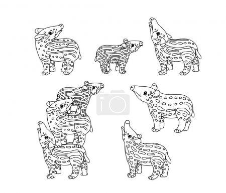 Illustration pour Ligne vectorielle dessin animé animalier clip art petits tapirs - image libre de droit