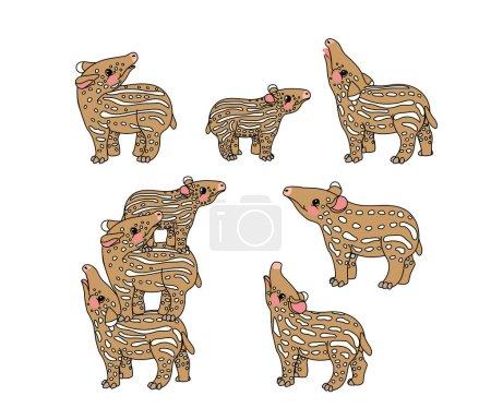 Illustration pour Vecteur scandi dessin animé animalier clip art petits tapirs - image libre de droit