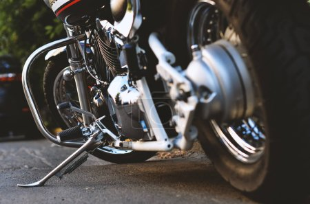 Photo for Wheels of classical chopper motorcycle close-up - Royalty Free Image