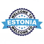 Welcome to Estonia blue black rubber stamp illustration vector on white background