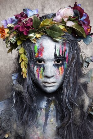 Portrait of witch, body paint