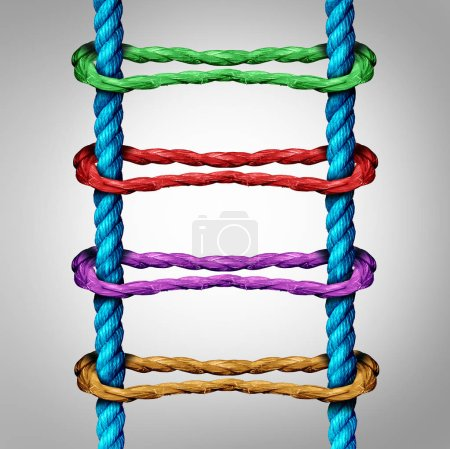 Photo for Ladder connection as a central network business concept as a group of diverse ropes connected to parallel ropes as a metaphor for connectivity and linking to an opportunity support structure. - Royalty Free Image