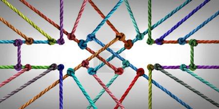 Photo pour Réseau de connexion flèche comme une communauté de réseautage social connecté se réunissant comme un groupe de cordes diverses liées . - image libre de droit