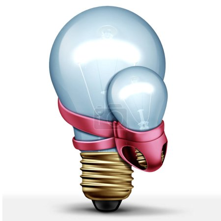 Photo for New idea creative concept and parenting solution as a lightbulb carrying a baby light as a 3D illustration. - Royalty Free Image