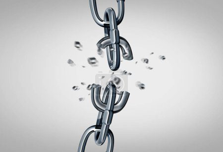 Photo for Broken chain concept and link disconnect business symbol as metal links breaking apart as a 3D render. - Royalty Free Image