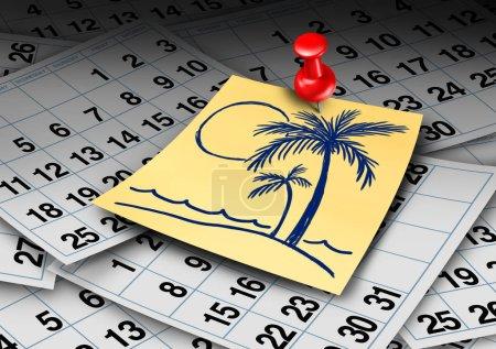 Foto de Vacaciones tiempo calendario y playa de vacaciones o licencia anual y trabajo rompen el concepto con elementos 3d de rener. - Imagen libre de derechos
