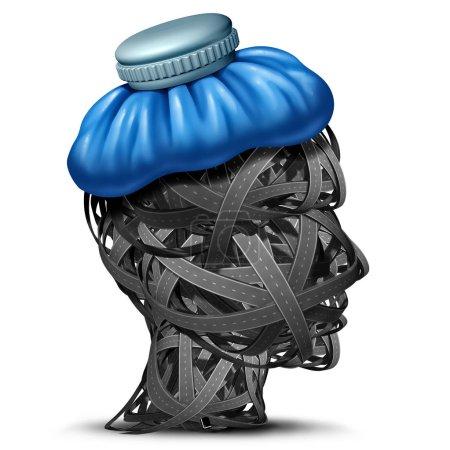 Dolor de cabeza de tráfico y congestión de carreteras dolores de cabeza como automóvil o coche embotellado concepto de estrés vial como una cabeza hecha de calles con una bolsa de hielo como un render 3D .