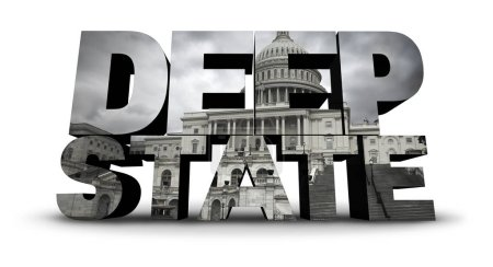 Photo for Deep state politics symbol concept and United States political symbol of an underground government bureaucracy with 3D elements. - Royalty Free Image