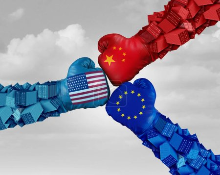 Photo for European China and American trade fight and tariff war as a Chinese Europe USA economic problem as cargo containers in conflict as an economic dispute over import and exports with 3D elements. - Royalty Free Image