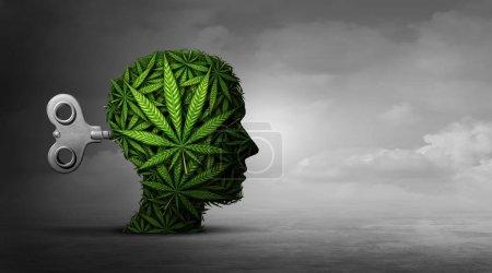 Photo pour Cannabis et fonctions mentales avec l'utilisation de la marijuana comme un concept psychiatrique ou psychiatrie des effets sur le cerveau avec récréatives ou médicaments contre les mauvaises herbes avec des éléments d'illustration 3d. - image libre de droit