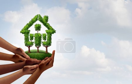 Photo for Social rental housing and community growth concept as a group of diverse hands holding trees shaped as a home as an eco friendly with 3D illustration elements. - Royalty Free Image