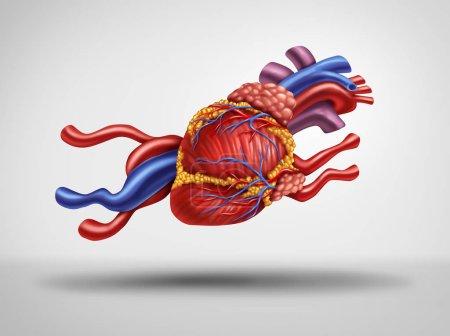 Photo pour Coeur rapide et accélération du rythme cardiaque ou pouls comme un concept médical cardiologie comme un organe circulatoire humain la forme d'un animal en cours d'exécution comme une idée de fatigue cardiaque avec des éléments d'illustration 3d. - image libre de droit