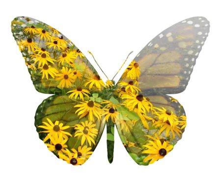 Photo pour Symbole de l'écologie et l'icône de la préservation de l'environnement comme un champ de fleurs et la forme d'un papillon qui représente le bonheur et l'habitat protection avec des éléments d'illustration 3d du lac. - image libre de droit