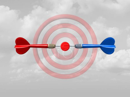 Photo for Concept of competition as a business success symbol as rivals compete for the same target bullseye as dart arrows focused on the central goal as a 3D illustration. - Royalty Free Image