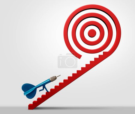 Photo for Strategic pathway business success and bullseye concept of direction and career goals with 3D illustration elements. - Royalty Free Image