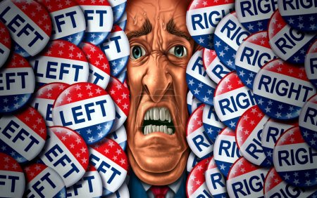 Voter stress and vote or voting psychological pressure concept as an election campaign psychology distress symbol with conservative and liberal competing with 3D illustration elements.