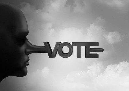 Photo pour Fraude électorale et électeur gréement ou crime électoral avec des bulletins de vote illégaux d'une élection et le symbole de dépouillement avec droit de vote tant que la corruption dans les urnes comme des crimes de la répression politique avec des éléments d'illustration 3d. - image libre de droit