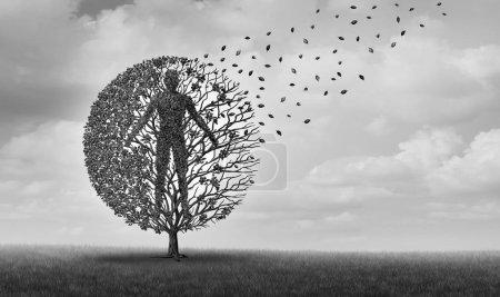 Photo pour Vieillissement humain et espérance de vie mourir ou espérance de vie symbole médical pour les problèmes de santé liés à l'âge et la longévité avec des éléments d'illustration 3D . - image libre de droit