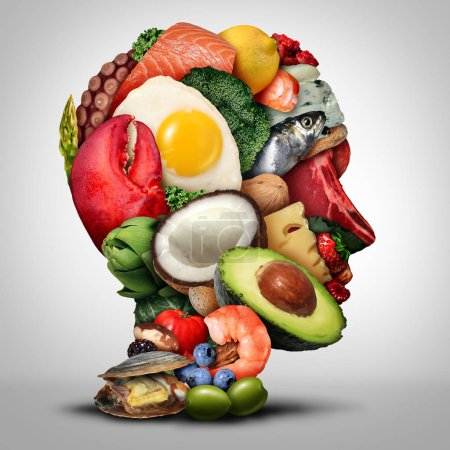 Photo for Keto nutrition lifestyle and ketogenic diet low carb and high fat food eating as fish nuts eggs meat avocado and other healthy ingredients as a therapeutic meal shaped as a human head in a 3D illustration style. - Royalty Free Image