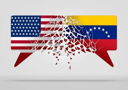 Photo pour Les États-Unis Venezuela conflit et de crise diplomatique ou de situation politique vénézuélienne comme incertitude à Caracas et rupture diplomatique avec le pays sud-américain dans un style d'illustration 3d. - image libre de droit