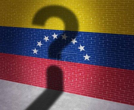 Photo pour Crise de Venezuela et situation politique vénézuélienne comme incertitude à Caracas et à une question d'ombre sur le drapeau du pays sud-américain dans un style d'illustration 3d. - image libre de droit