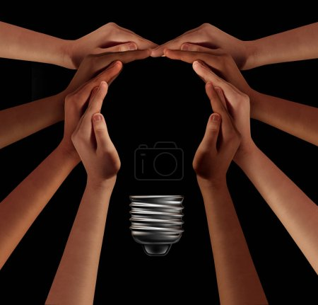 Photo for People together imagine and thinking teamwork as a diverse group coming together joining hands into the shape of an inspirational light bulb as a community support metaphor with 3D elements on black. - Royalty Free Image