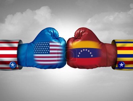 Photo for USA Venezuela conflict and United States diplomatic crisis or Venezuelan political fight situation as uncertainty in Caracas and breakdown of diplomacy with the south american country in a 3D illustration style. - Royalty Free Image