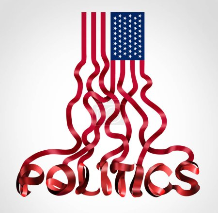 Foto de Nosotros política y símbolo político de gobierno de Estados Unidos como una bandera americana en forma de texto como un icono creativo una legislación conservadora demócrata republicano y liberal o la elección para Presidente o el Congreso y el Senado como una ilustración 3d. - Imagen libre de derechos