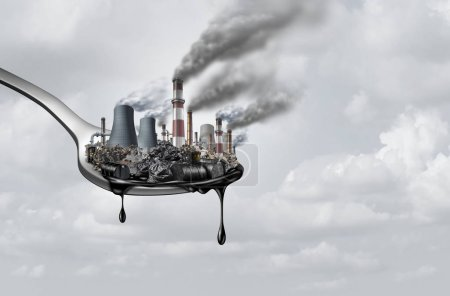 Photo for Pollution in food and toxic chemical eat,surreal,surrealistic,idea,contaminants that people ingest as a health and safety concept as a spoon  with polluting industry dripping with petroleum as a 3D illustration. - Royalty Free Image