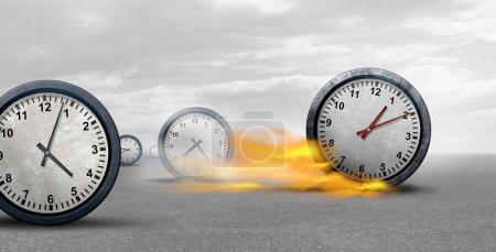 Photo pour Succès de travail et de la concurrence et d'avantage de temps concurrentiel sur les autres concurrents de l'entreprise comme un puissant rapide d'horloge conquérir d'autres comme un concept pour l'horaire et planification des défis comme une illuastration 3d. - image libre de droit