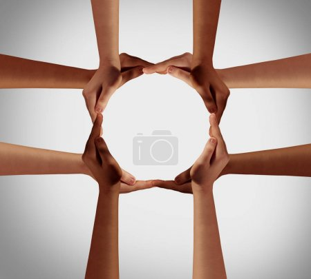 Photo for Hand circle and a group of hands forming a cross as a group diversity symbol and multiracial togetherness as ethnic community joining  together. - Royalty Free Image