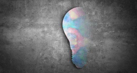 Foto de Concepto abstracto de innovación e invención con una tecnología innovadora de bombillas y una idea de éxito empresarial en un estilo de ilustración 3D. - Imagen libre de derechos