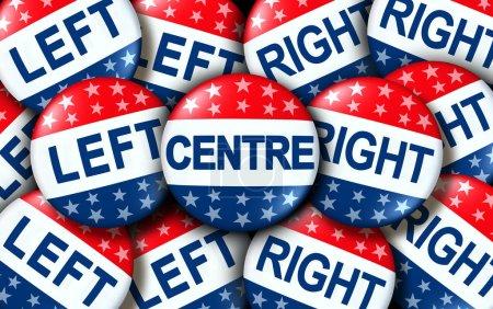 Photo pour Centre politique comme gauche et droite insignes de vote comme une élection des États-Unis ou concept de vote comme un symbole avec la campagne politique conservatrice et libérale comme un rendu 3D . - image libre de droit