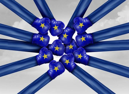 Photo for Europe political fight as european elections and EU politics with infighting of countries representing the flag in a 3D illustration style. - Royalty Free Image