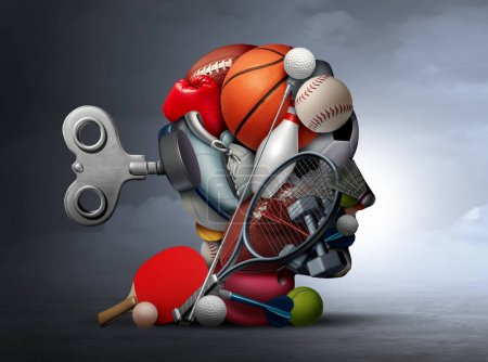 Photo for Active lifestyle and mental function or psychological benefits of sport and exercise as a group of sports equipment shaped as a human head as physical recreation for psycological health with 3D illustration elements. - Royalty Free Image