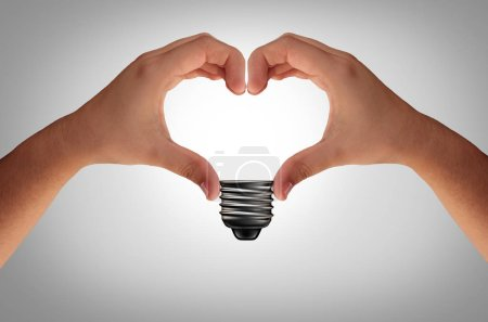Photo for Abstract conceptual idea and creativity concept joining hands into the shape of an inspirational heart light bulb as an electric metaphor or business innovation with 3D elements. - Royalty Free Image