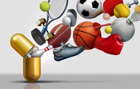 Photo pour Suppléments sportifs et vitamines du sport concept comme une capsule avec football football basket-ball et équipement d'exercice à l'intérieur d'une pilule nutritive comme un traitement de santé de performance de la médecine avec des éléments d'illustration 3D . - image libre de droit