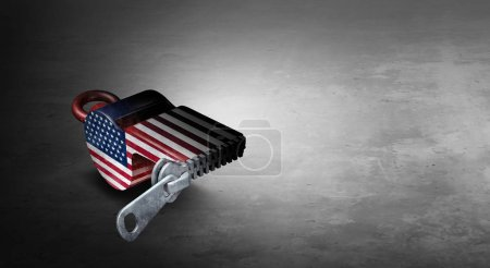 Photo for United States freedom of the press or deep state and deepstate US politics and  censorship of free speech in the United States concept as a symbol for media suppression as a 3D illustration. - Royalty Free Image