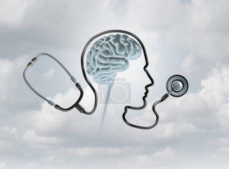 Photo pour Contept de santé mentale et sensibilisation aux troubles cérébraux comme concept de soins de santé ou de soins de santé avec des éléments d'illustration 3D . - image libre de droit