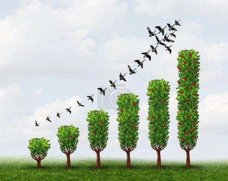 Photo pour Les signes de croissance de l'entreprise en tant que concept abstrait de graphique de profit réalisé avec des plantes avec des éléments d'illustration 3D . - image libre de droit