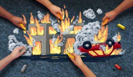 Violent protests concept as community children dra...