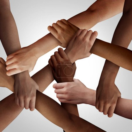 Photo for Racism and human civil rights as diverse people of different ethnicity holding hands together as a social solidarity concept of a multiracial group working as united partners. - Royalty Free Image