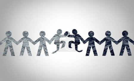 Photo pour Concept de relations raciales en tant que cultures différentes en noir et blanc s'unissant en tant que concept de partenariat d'harmonie raciale et de respect ou de diversité dans un style d'illustration 3D. - image libre de droit