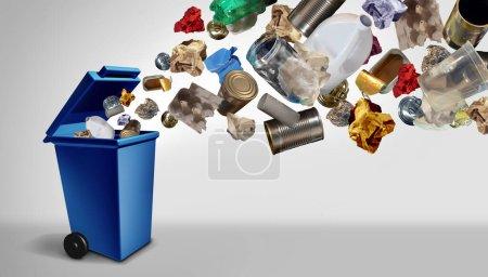 Photo pour Recycler les déchets et les ordures en tant que gestion d'objets réutilisables comme vieux papier, verre, métal et plastique jetés dans une poubelle bleue comme concept de conservation de l'environnement avec des éléments d'illustration 3D. - image libre de droit